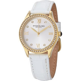 Stuhrling Original Women's Swiss Quartz Dazzle Leather Strap Watch