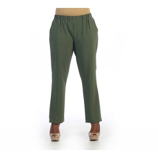 Hadari Women's Plus Size Olive Green Casual Pant