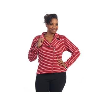 Hadari Women's Plus Size Red/ White Stripe Collard Sweater