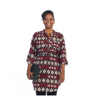 Hadari Women's Plus Size Red Aztec Belted Tunic