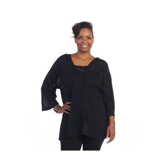 Hadari Women's Plus Size Hoodie V-neck Long Sleeve Top
