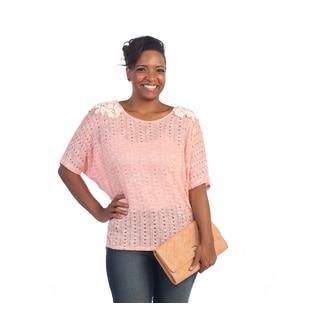 Hadari Women's Plus Size Dolman Sleeve Open Knit Blouse