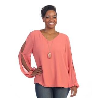 Hadari Women's Plus Size Open Slit Long Sleeve Blouse
