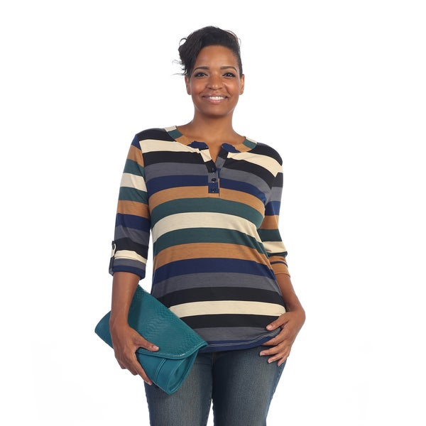 Hadari Women's Plus Size Multi-striped Button Top