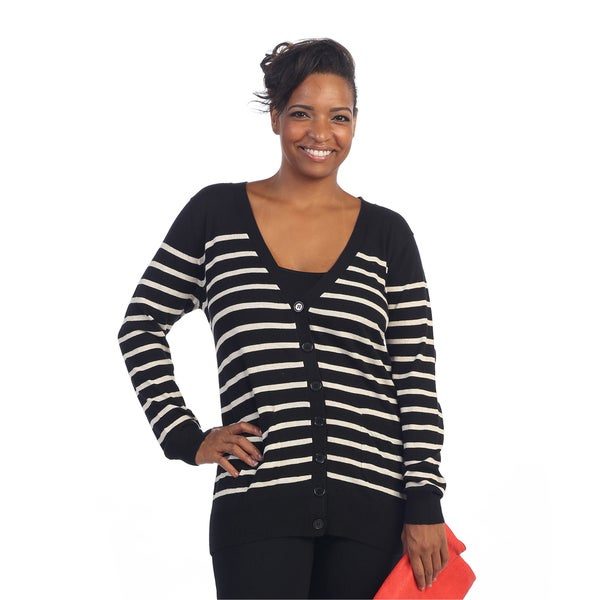 Hadari Women's Plus Size Black/ White Striped Cardigan