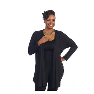 Hadari Women's Plus Size Black Tribal Print Open Cardigan