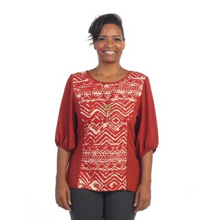Hadari Women's Plus Size Red Tribal Blouse