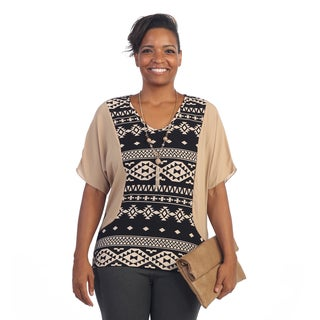 Hadari Women's Plus Size Tribal Scoop Neck Blouse