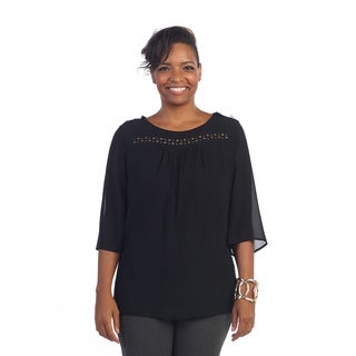 Hadari Women's Plus Size Studed Square Neck Blouse