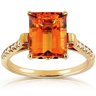 Annello 14k Goldplated Silver Orange Citrine and 1/6ct TDW Diamond Ring (G-H, I1-I2)