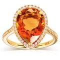 Annello 10k Yellow Gold Pear-shape Orange Citrine and 1/3ct TDW Diamond Halo Ring (G-H, I1-I2)