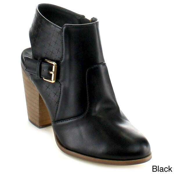 Betani Women's 'Kimberly-2' Cut-out Chunky Heel Ankle Booties