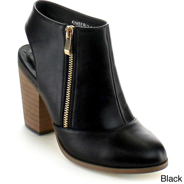 Betani Women's 'Kimberly-1' Cut-out Chunky Heel Ankle Booties