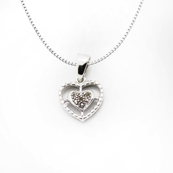 Gioelli Sterling Silver Diamond Accent Double Heart Pendant Necklace