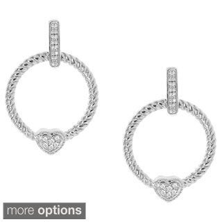 Gioelli Sterling Silver 1/5ct TDW Heart Diamond Doorknocker Dangle Earrings (H-I, I2-I3)