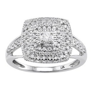 Beverly Hills Charm 10k White Gold 1/3ct TDW Diamond Halo Engagement Ring (H-I, SI1-SI2)