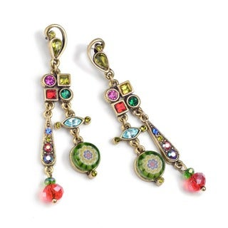 Sweet Romance Millefiori Glass and Crystal Gold Dangle Earrings