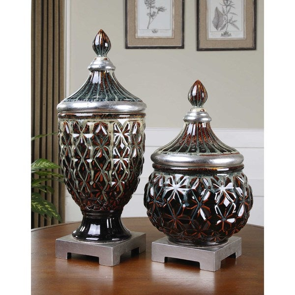 Uttermost Tailor Dark Blue Ceramic Decorative Jars (Set of 2)