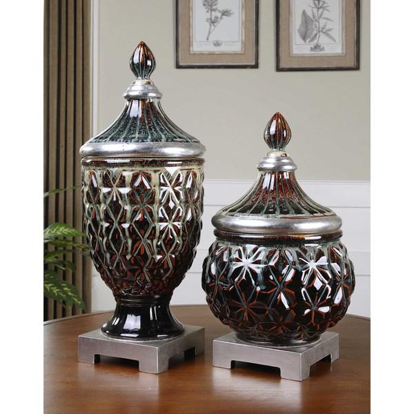 Uttermost Tailor Dark Blue Ceramic Decorative Jars (Set of 2)