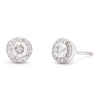 SummerRose 14k White Gold 1/2ct TDW Diamond Halo Stud Earrings (G-H, SI1-SI2)