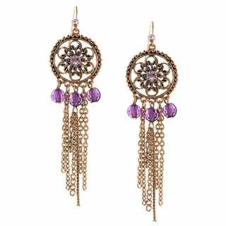 1928 Coppertone Purple Crystal and Chain Fringe Chandelier Earrings