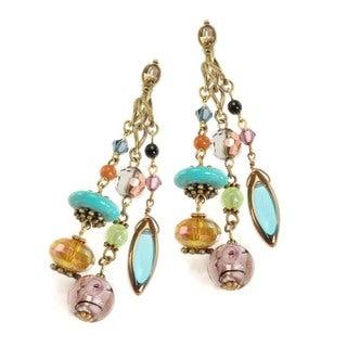 Sweet Romance Bohemian Art Glass and Turquoise Earrings