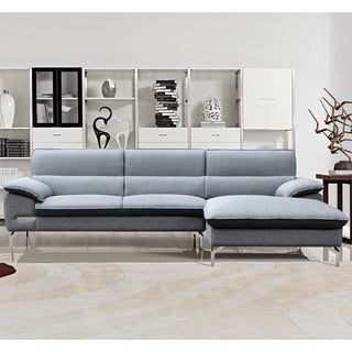 Cynthia Grey Fabric Contemporary Sectional Sofa Set