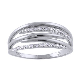 Beverly Hills Charm 10k White Gold Diamond Accent Multi-row Promise Ring (H-I, I2-I3)