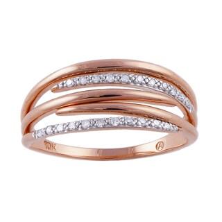 Beverly Hills Charm 10k Rose Gold Diamond Accent Multi-row Promise Ring (H-I, I2-I3)