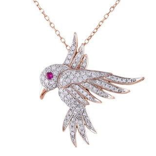 Beverly Hills Charm 14k Rose Gold 1/3ct TDW Diamond and Pink Sapphire Hovering Bird Necklace (H-I, I2-I3)