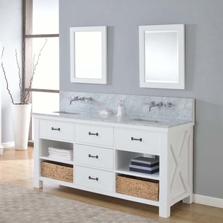 Direct Vanity 70-inch Xtraordinary Spa Pearl White Double Vanity Sink Cabinet