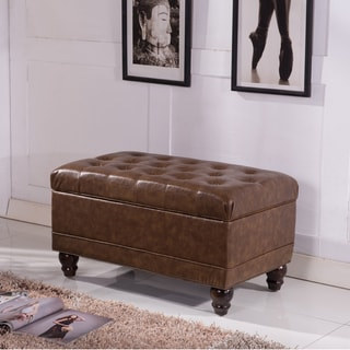 Royal Comfort Collection Classic Brown Button Tufted Storage Ottoman