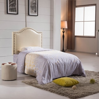 Creamy White Twin-size Faux Leather Headboard with with Nail Head Trim