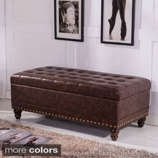 Castillian Collection Classic Tufted Storage Bench Ottoman with Nailhead Trim