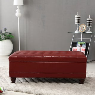 Castillian Collection Classic Burgundy Red Tufted Storage Bench Ottoman