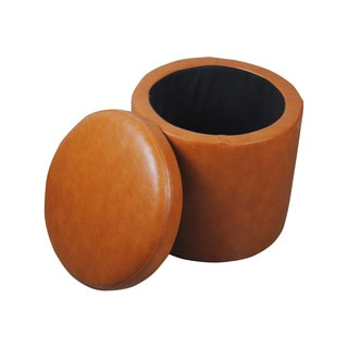 Castillian Collection Classic Saddle Brown Round Storage Ottoman