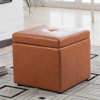 Castillian Collection Classic Cube Saddle Brown Faux Leather Storage Ottoman