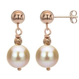 DaVonna 14k Rose Gold Pink Freshwater Pearl Dangle Earrings (8-9 mm)