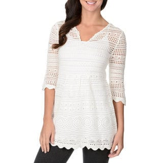 Chelsea & Theodore Women's White Scallop-hem Knit Tunic
