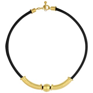 Sunstone Catherine Canino Leather 18k Goldplated Bead Collar Necklace and Pearl Accent Toggle (4 mm)