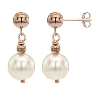 DaVonna 14k Rose Gold White Freshwater Pearl Dangle Earrings (8-9 mm)