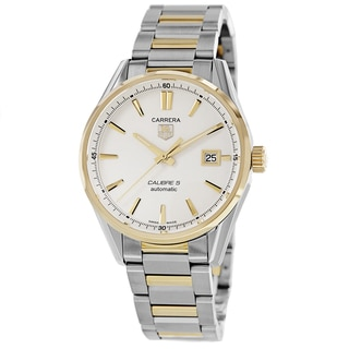 Tag Heuer Men's WAR211B.BD0783 'Carrera' Silver Dial Two Tone Bracelet Automatic Watch