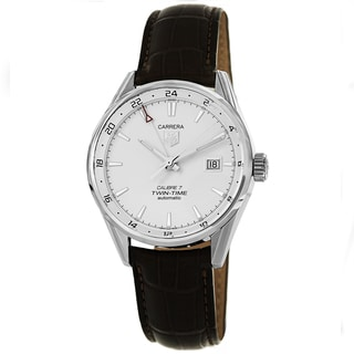 Tag Heuer Men's WAR2011.FC6291 'Carrera' Silver Dial Brown Leather Strap Watch