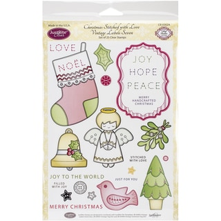 """JustRite Papercraft Clear Stamp Set 6""""X8""""-Christmas Stitched W/Love 25pc"""