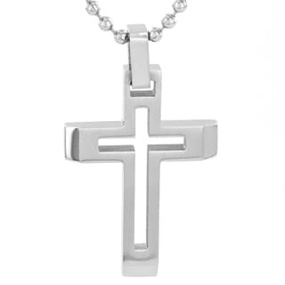 Crucible Stainless Steel Cut Out Cross Pendant Neckalce