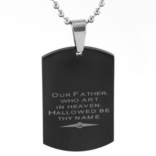 Men's Black-plated Stainless Steel Lord's Prayer Dog Tag Pendant Necklace