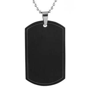 Men's High Polish Stainless Steel Dog Tag Pendant Necklace