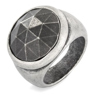 Crucible Antiqued Brass Faceted Domed Ring - 21mm Wide