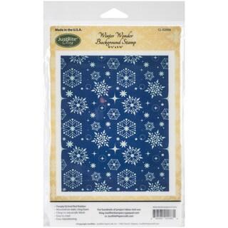 "JustRite Papercraft Cling Background Stamp 4.5""X5.75""-Winter Wonder"