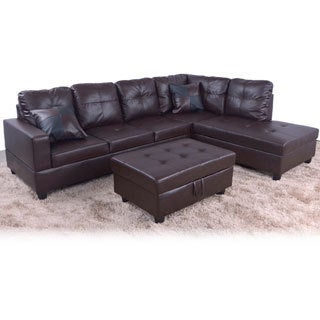 Delma 3-piece Faux Leather Sectional Set